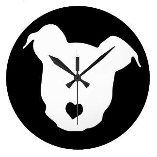 ハートの♥のピット・ブル ラージ壁時計