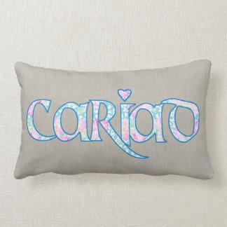 ハートのLumbarの枕が付いているウェールズの花の文字Cariad ランバークッション