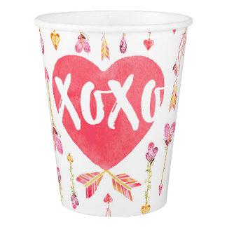 ハートのnの」矢のバレンタインデーXOXO 紙コップ