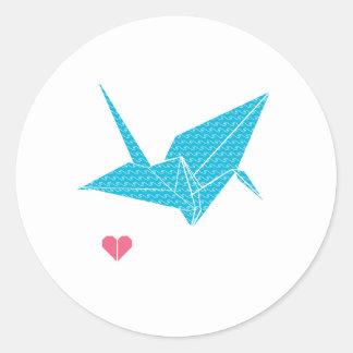 ハートのorigamiの鳥 ラウンドシール