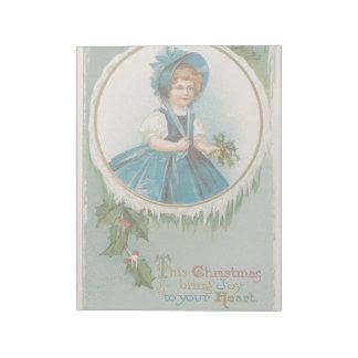 ハートへのヴィンテージのクリスマスの休日カード女の子の喜び ノートパッド
