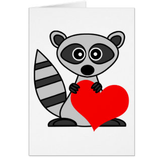 ハートを保持しているかわいい漫画のアライグマ カード