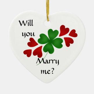 ハートを持つシャムロック、求婚 セラミックオーナメント