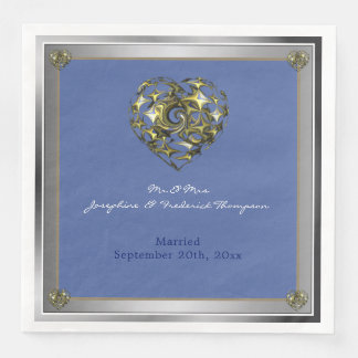 ハートを結婚する青および金ゴールド