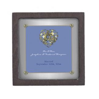 ハートを結婚する青および金ゴールド ギフトボックス