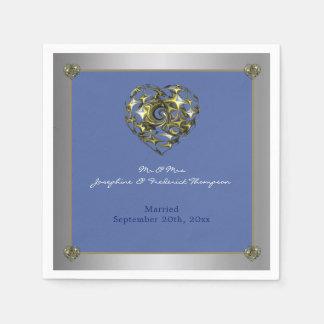 ハートを結婚する青および金ゴールド スタンダードカクテルナプキン