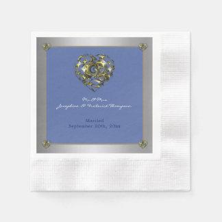 ハートを結婚する青および金ゴールド 縁ありカクテルナプキン