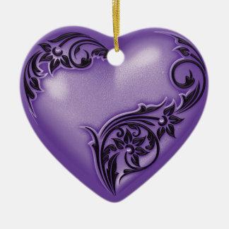 ハートスクロール紫色w黒 セラミックオーナメント