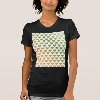 ハートパターン-緑の柑橘類の勾配 Tシャツ