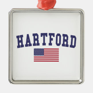 ハートフォード米国の旗 メタルオーナメント