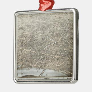 ハートフォードCT (1877年)のヴィンテージの絵解き地図 メタルオーナメント