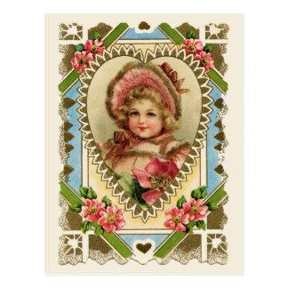 ハートフレームのヴィンテージの再生のビクトリアンな女の子 ポストカード