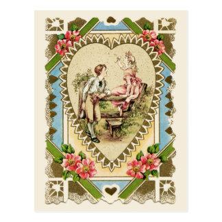 ハートフレームのヴィンテージの再生の甘いカップル ポストカード