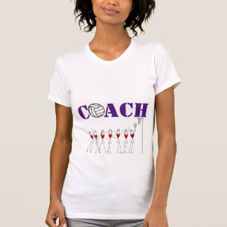 ハートプレーヤーおよび球のデザインのネットボールのコーチ Tシャツ