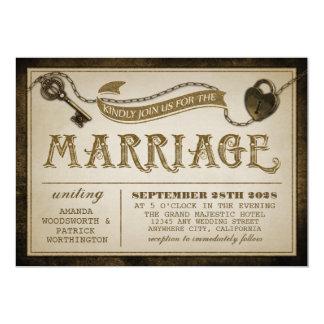 ハートロックおよび合い鍵の結婚式招待状 カード
