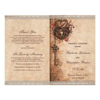 ハートロックおよび鍵の結婚式プログラム チラシ