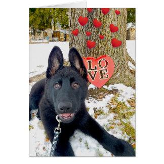 ハート及び愛バレンタインカードを持つ黒いGSDの子犬 カード