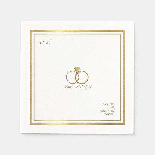 ハート及び2つの結婚指輪のエレガントのを愛して下さい スタンダードカクテルナプキン