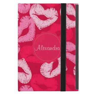 ハート形の唇、口紅の跡、キスの名前 iPad MINI ケース