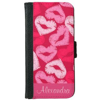 ハート形の唇、口紅の跡、キスの名前 iPhone 6/6S ウォレットケース