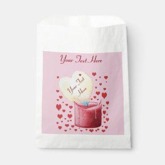 ハート形の埋める炎のロマンチックなピンクの結婚式 フェイバーバッグ