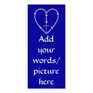 """ハート形の数珠を""""真珠で飾ります"""" ラックカード"""