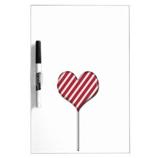 ハート形の棒つきキャンデーのデザインの板に注意して下さい ホワイトボード
