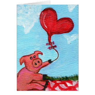 ハート形の気球と豚のよう カード