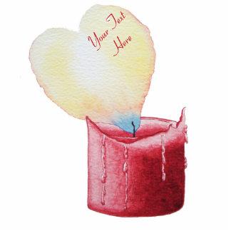 ハート形の炎の赤い蝋燭の芸術 写真彫刻キーホルダー