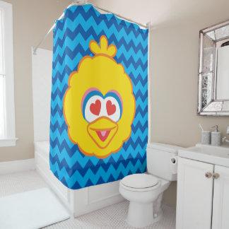 ハート形の目が付いている大きい鳥の微笑の顔 シャワーカーテン