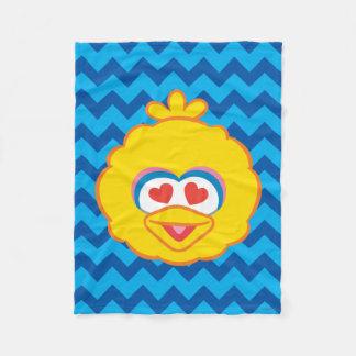 ハート形の目が付いている大きい鳥の微笑の顔 フリースブランケット
