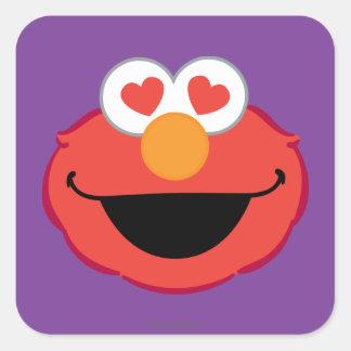 ハート形の目が付いているElmoの微笑の顔 スクエアシール