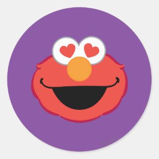 ハート形の目が付いているElmoの微笑の顔 ラウンドシール
