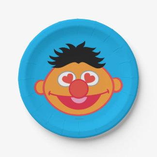 ハート形の目が付いているErnieの微笑の顔 ペーパープレート