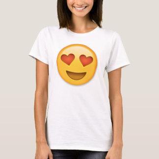 ハート形の目のemojiの微笑の顔 tシャツ