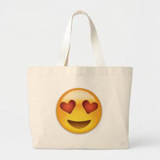ハート形の目Emojiが付いている微笑の顔 ラージトートバッグ