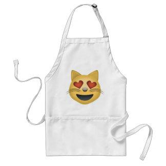 ハート形の目Emojiが付いている微笑猫の顔 スタンダードエプロン