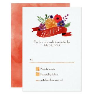 ハート形の花のリースの素朴な結婚式 カード