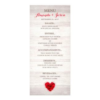 ハート形の赤いバラの結婚式メニューhhn01 ラックカード