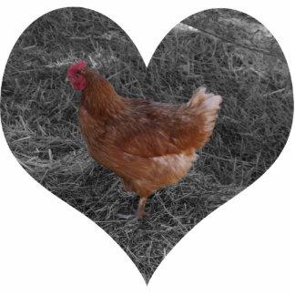 ハート形の鶏のクリスマスのオーナメント 写真彫刻オーナメント