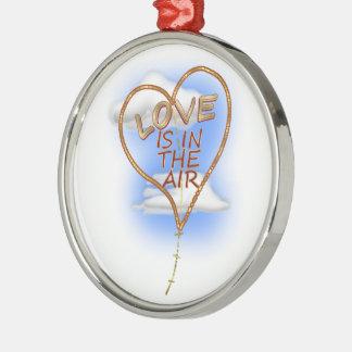 """ハート形の""""愛は空気にあります"""" メタルオーナメント"""