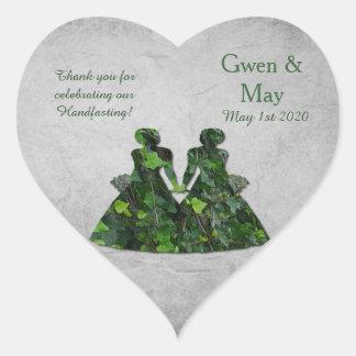 ハート形キヅタの緑の女性はステッカー感謝していしています ハートシール