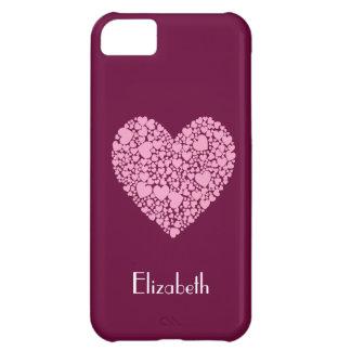 ハート果実内のピンクのハート+名前 iPhone5Cケース