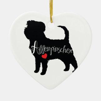 ハート犬の品種初恋のアーフェンピンシャー セラミックオーナメント