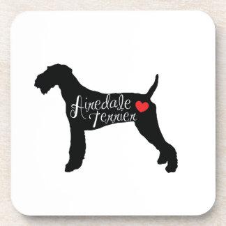 ハート犬の品種愛のAiredaleテリア コースター