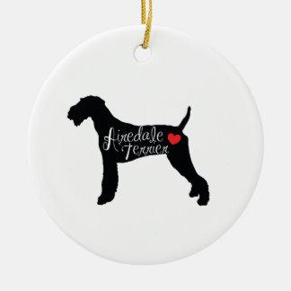 ハート犬の品種愛のAiredaleテリア セラミックオーナメント