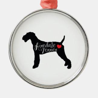 ハート犬の品種愛のAiredaleテリア メタルオーナメント