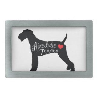 ハート犬の品種愛のAiredaleテリア 長方形ベルトバックル