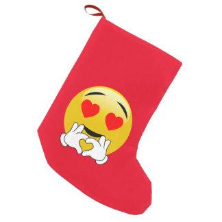 ハート目及び手のEmoji愛 スモールクリスマスストッキング