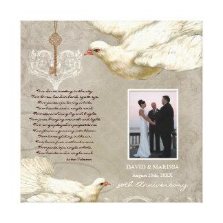 ハート第50結婚記念日の写真への鍵は潜りました キャンバスプリント